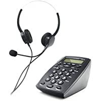 Call Center Phone, Bizoerade Hands-free Call Center Noise Cancellation Binaural Corded Headset Telephone Desk Phone Headphones Headset w/ PC Recording Function