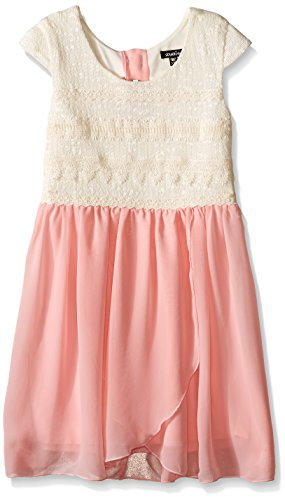 Cap Sleeve Cotton Sweater (Zunie Big Girls Cap Sleeve Sweater Knit Top With Chiffon Skirt, Ivory Blush, Medium)