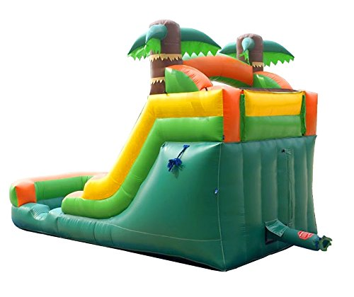 Pogo Bounce House Inflatable Water Slide, 12-Foot Tall, 21-Foot Long,  9-Foot Wide, Crossover Tropical Oasis Complete, with Included Blower,  Stakes,
