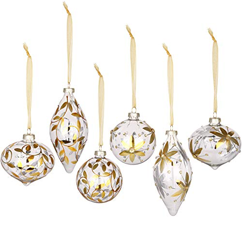 Sea Team Christmas Clear Glass Ball Ornaments Finial Drops Pendants with Gold Floral Designs for Xmas Tree Decorations, 70mm/2.76-inch, Set of - Ornaments Crystal Christmas Tree