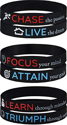 AMPM Collective | Silicone Motivational Wristbands | Rubber Inspirational Quote Bracelets | Unisex for Men Women Teens | Good for Daily Discipline Perseverance and Motivating Force (24 Pack) ()