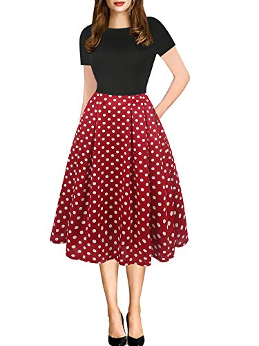 oxiuly Women's Vintage Patchwork Pockets Puffy Swing Casual Party Dress OX165 (2XL, BK-Red dot)