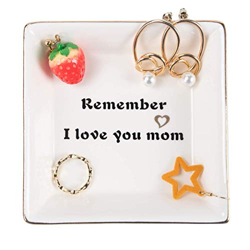 Gifts for Mom, Birthday Gifts for Mom, – Remember I Love You Mom Ceramic Jewelry Tray Trinket Ring Dish Mother's Day…