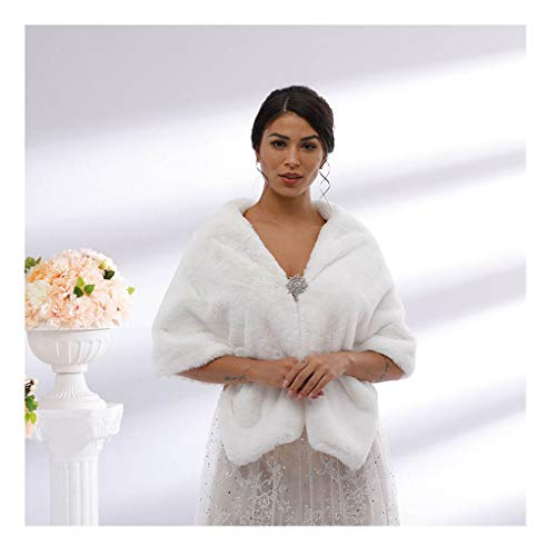 Yalice Women's Wedding Faux Fur Shawl and Wrap Bridal Fur Stole Cape Fur Scarf for Bride and Bridesmaids (White)
