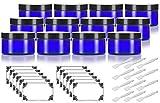 pet plastic jars - Cobalt Blue 4 oz PET Plastic (BPA Free) Refillable Low Profile Jar (12 pack) + Spatulas and Labels