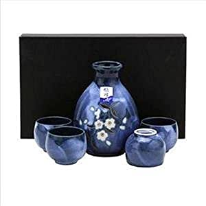 Dark Blue Japanese Porcelain Sake Set Bottle Cups Sakura Q7/Bc S-3456