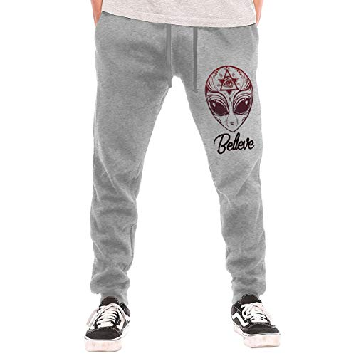 - Men's Jogger Sweatpants Alien Face Icon Casual Stretch Cotton Lounge Pants Gray