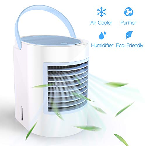 (Portable Air Conditioner Small Personal USB Air Cooler, Humidifier and Purifier Desktop Cooling Fan with Breathing LED Night Light and 3 Speeds for Office Home Travel (Blue))