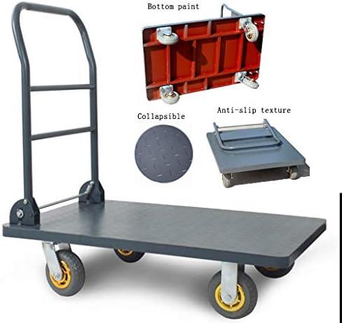 トロリープラットフォームトロリー折りたたみドリーカートラック輸送農場工業用倉庫がカートロード300キロ (Color : Black, Size : 90*60*90cm)