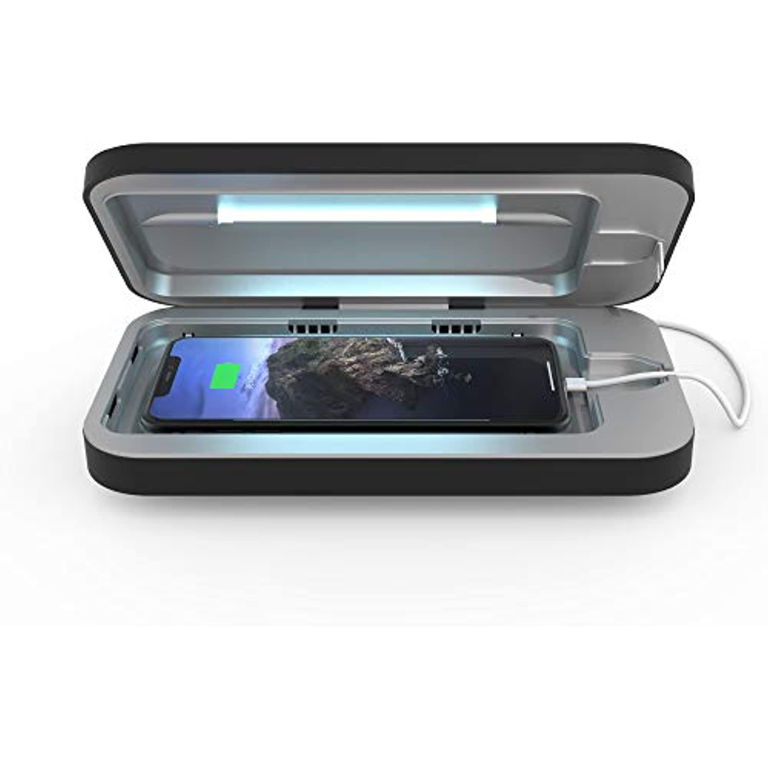 PhoneSoap 3 UV Cell Phone Sanitizer and Dual Universal Cell Phone Charger   Patented and Clinically Proven 360 Degree UV Light Sanitizer   Cleans and Charges All Phones (Black)