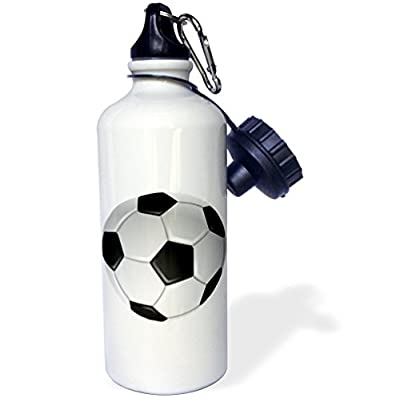 3dRose wb_6254_1 Soccer Ball Sports Water Bottle, 21 oz, White