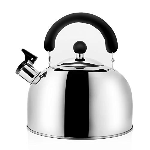 Stainless Steel Whistling Tea Kettle Tea Pot, Tea Kettles Stovetop 4L/4.3Qt, 3-Ply Capluse Base Large Capacity Tea Pots for Stove Top by Ecpurchase