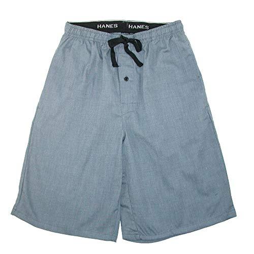 Hanes Men's Cotton Madras Drawstring Sleep Pajama Shorts, XLarge, Heather (Plaid Madras Shorts)