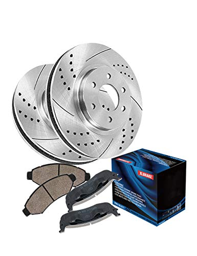 XLBRAKE Automotive Rear Brake Kits Plated Brake Rotors with Ceramic Brake Pads For 2001 Hyundai Tiburon Base, 1997 2002 2003 2005 2006 Hyundai Elantra GT GLS (Tiburon Base Hyundai)