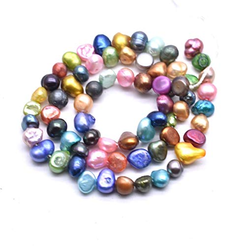 Calvas Fashion Natural Cultured Freshwater Pearl Beads 6-7mm 7-8mm Baroque AA Gread Mixed Pearl DIY Making Jewelry Loose Pearl Beads - (Color: 7-8mm 15inch) ()