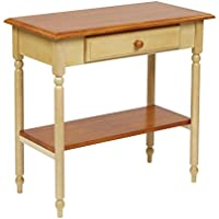 Office Star Country Cottage Collection Foyer Table in Buttermilk and Cherry Finish