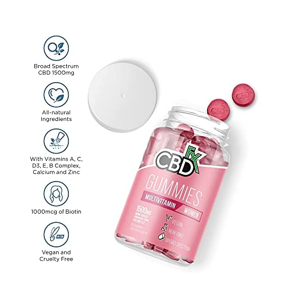 CBDfx Women's Multivitamin CBD Gummies (60 Gummy Bottle) – 1500mg CBD