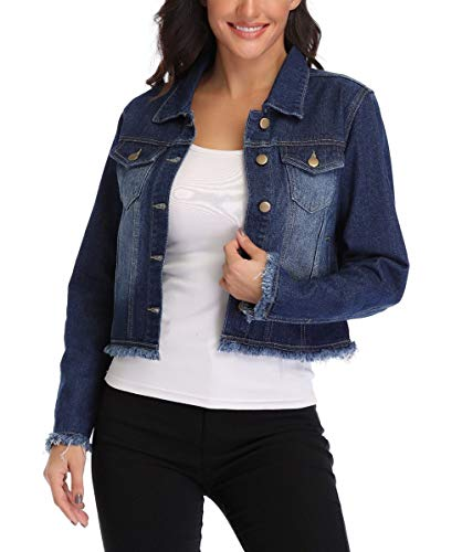 MISS MOLY Jean Jacket Women's Frayed Washed Button Up Cropped Denim Jacket w 2 Side Pockets ()