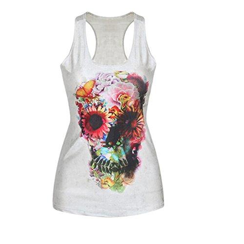 Darkey Wang Women Fashion Sexy Tank Top Printed Sleeveless sports T Shirt Vest(14#)