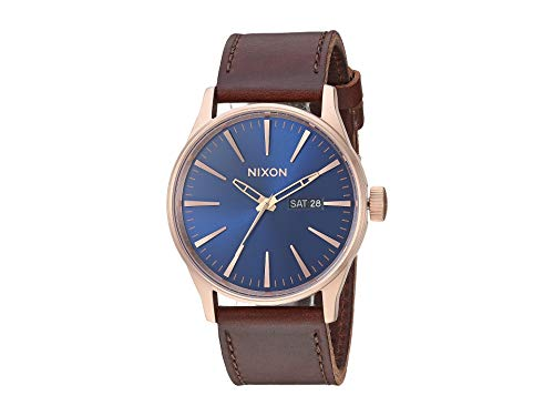 Nixon Men's Sentry Leather Strap Watch, 42mm, Rose Gold/Navy/Brown, One -