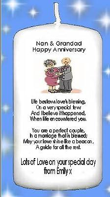 Poesie Anniversario Matrimonio Nonni.Candela Regalo Per Nonni Per 50esimo Anniversario Di Nozze