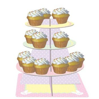 - Creative Converting Tiered Snack and Cupcake Server, Stripes and Bunnies, Pastel Dots