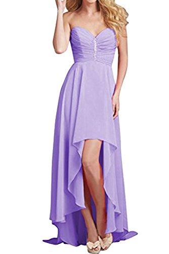 Partykleid Herzform Rueckenfrei Ballkleid aermellos zaertlich Lo Hi Chiffon Lilac Ivydressing Damen Strass Abendkleid qwpZvC