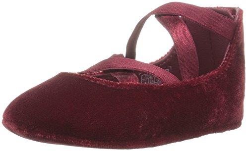 Girls' Priscilla Burgundy Velvet Ballet Flat, Red Velvet, 4 M US Infant (Red Layette)