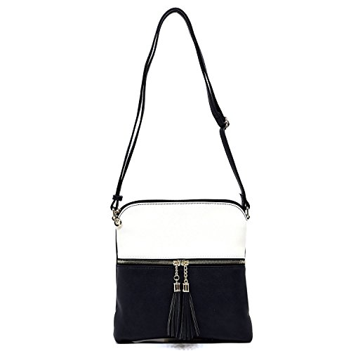Women's Rich Faux Leather Light Weight Medium Crossbody Bag and Large Capacity Purse Organize with Adjustable Shoulder Strap (WHITE/DEEP SEA) by Solene