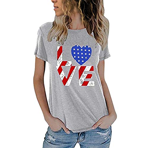 YEZIJIN Women's Fashionable Loose American Flag Short-Sleeved Printed T-Shirt Top Blouse 2019 New Sexy T-Shirt Gray