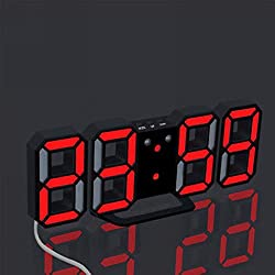 Led Digital Clock Display Watches 24 or 12-Hour Large Modern Design Display (Black+Red)