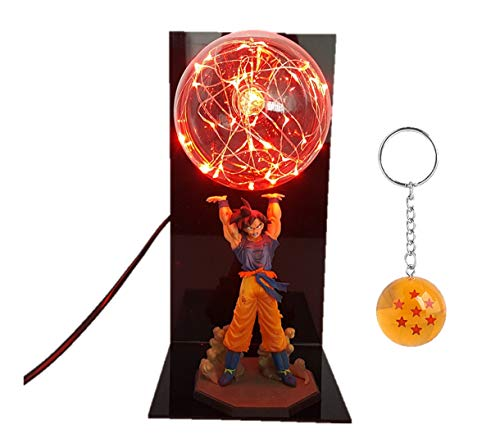 Bezuto Dragon Ball Z Goku Action Figure Collectible LED Light Lamp with Free DBZ Super Keychain (Red)