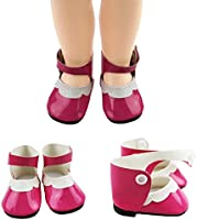 Fit For 18/'/' American Girl Slip-On Star Shoes PU Leather Gold Gift Doll Clothes