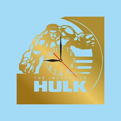 """Incredible Hulk Diy Costume (BEST SELLING OFFER. CUT OF PLASTIC 11,4"""" Hulk WALL CLOCK. NON-TICKLING. CLASSIC GOLD . FOR ANY TYPE OF ROOM.)"""