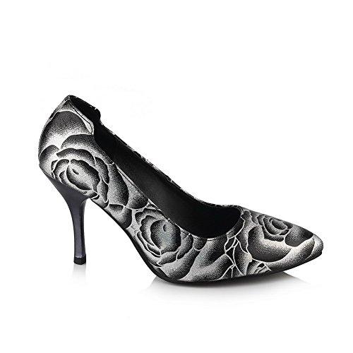 Imitated Black Con Pompe Tacco Donna Da In Animali Balamasa scarpe Kitten Pelle Z4wOYY