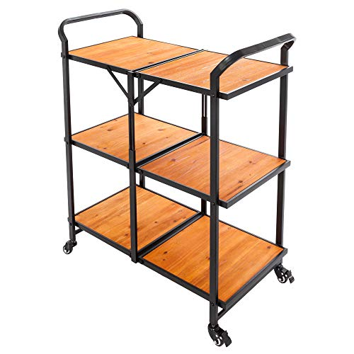 - Festnight 3-Tier Foldable Rolling Kitchen Trolley Cart Wood Storage Shelves with Wheels Utility Service Organizer Storage Rack for Kitchen Dining Room Home Furniture 38.4