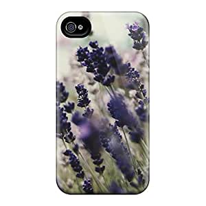 High Quality Shock Absorbing Case For Iphone 4/4s-violet And White Flowers In Garden Other