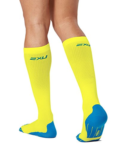 2XU Men's Compression Performance Run Socks, Fluro Yellow/Vibrant Blue, X-Small by 2XU (Image #1)