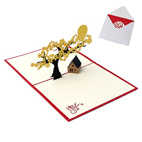 JUA PORROR 3D Pop UP Holiday Greeting Cards Cherry Tree House Christmas Thanksgiving Gift