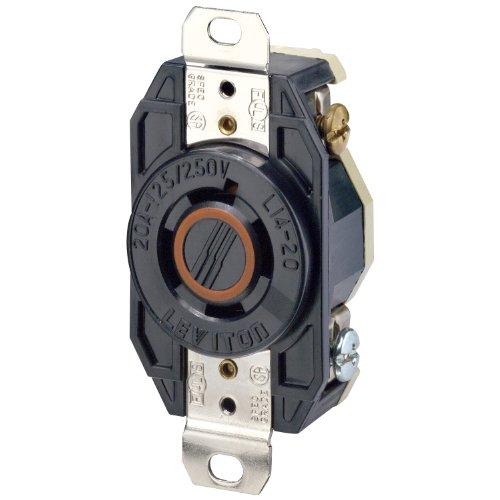 Leviton 2410 20 Amp, 125/250 Volt, Flush Mounting Locking Receptacle, Industrial Grade, Grounding, V-0-MAX, Black (Leviton Locking Outlet)