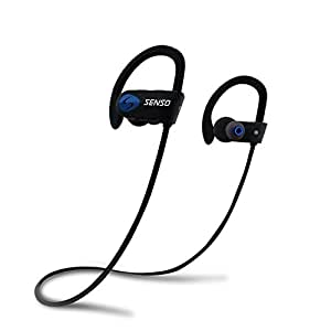 SENSO ActivBuds Bluetooth Headphones, Best Wireless Sports Earphones w/ Mic IPX7 Waterproof HD Stereo Sweatproof Earbuds for Gym Running Workout 8 Hour Battery Noise Cancelling Headsets (Black/Blue)