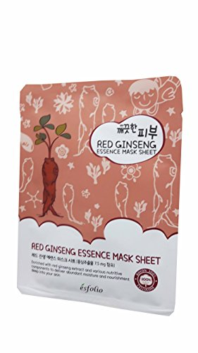 2 Mask Sheets of Esfolio Pure Skin Red Ginseng Essence Mask Sheet. Enriched with red ginseng extract and various nutritive components to deliver abundant moisture and nourishment.(25 ml/ sheet.)