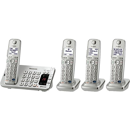 New PANASONIC KX-TGE274S DECT 6.0 Link2Cell Bluetooth Phone System (4-Handset System)