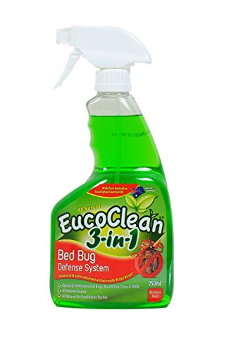 Eucoclean 3-in-1 Natural Bed Bug Spray Killer and Defense System, 750ml - Effective Against Bed Bugs, Fleas, Ticks, Ants - A Home Cleaner that Safely Eliminates Pests