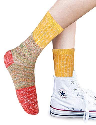 VERO MONTE 4Pairs Cotton Socks for Women -Womens Slouch Socks Cotton Crew(7-9.5)