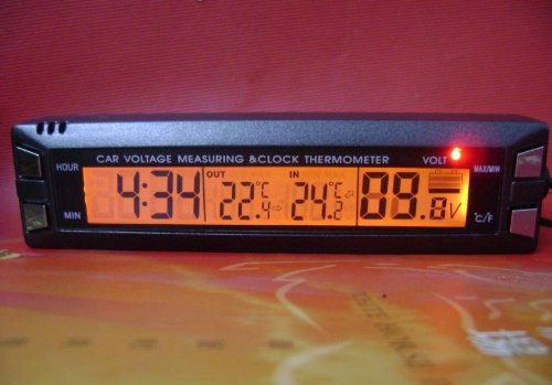 Amazon.es: Innovic EC30 multifuncional 4 en 1 coche reloj digital, in/out Termómetro, monitor de voltaje con soporte y Magic Tape