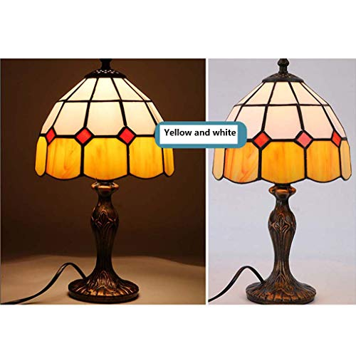 3c White Led Yellow Body - DSHBB Tiffany Style Table Lamp,Mediterranean   Warm   Romantic   Retro Stained Glass Table Lights,Bedroom,Office Desk,Living Room Decoration Night Lights (Color : Yellow and White)