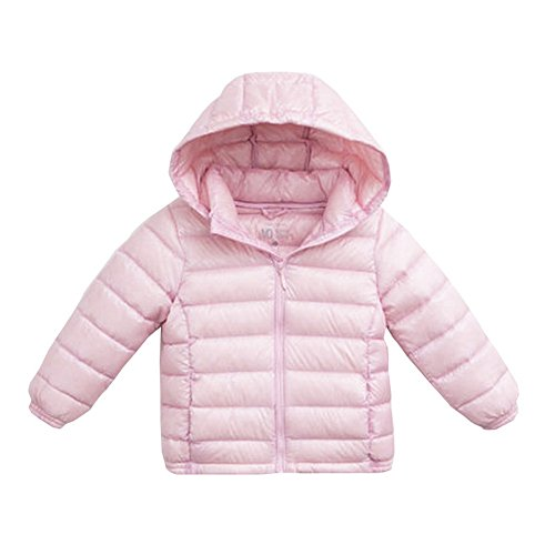 Hooded Girls Jacket Puffer (marc janie Girls Boys' Lightweight Packable Hooded Down Puffer Jacket 5 Years Pink)