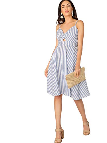Floerns Women's Twist Front Knot Back Bow Cami Skater Dress Blue and White S ()