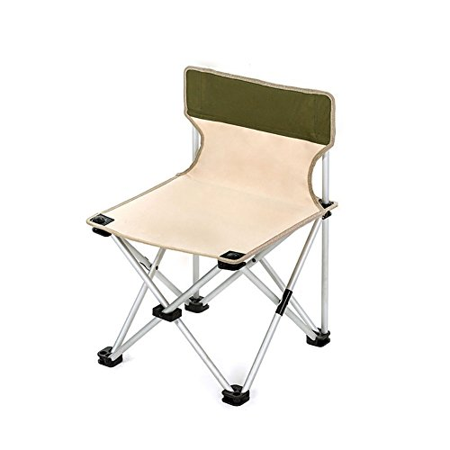 ZXL Outdoor Fold Chair Aluminum Alloy Portable Camping Beach Fishing Painting Chair Mazza, Heavy 100kg (Color : Khaki)